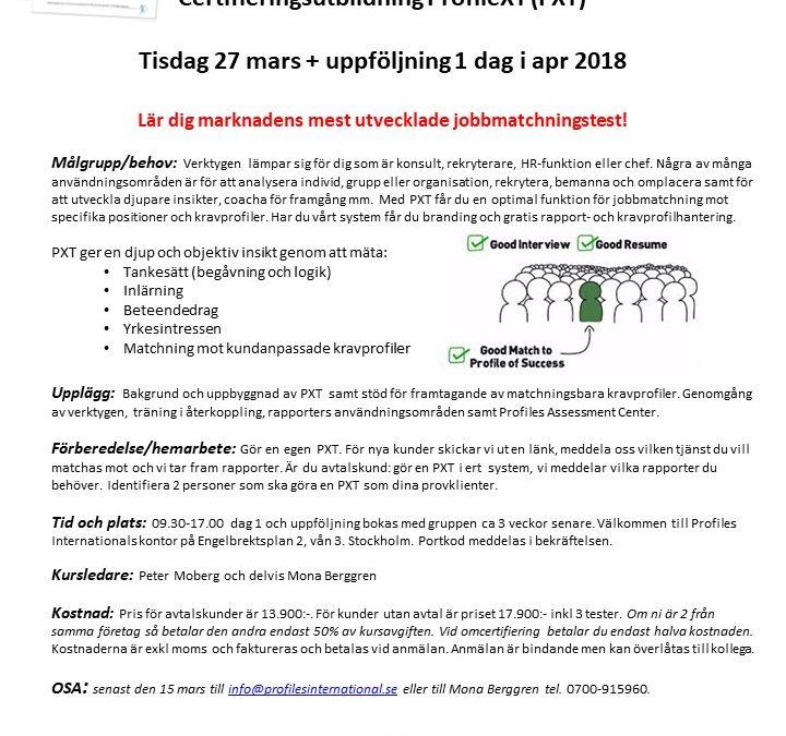 Certifieringsutbildning ProfileXT (PXT) – 27 mars 2018